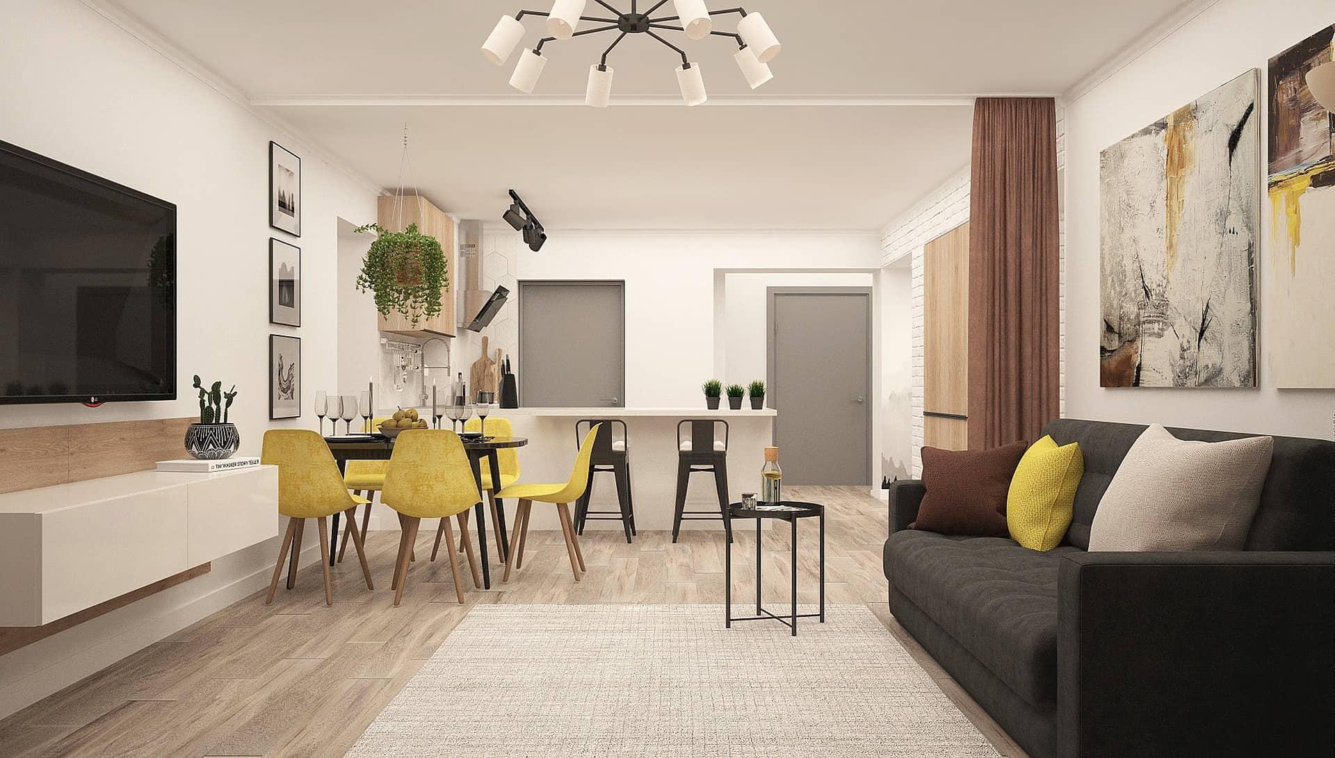 idee per dividere cucina e soggiorno
